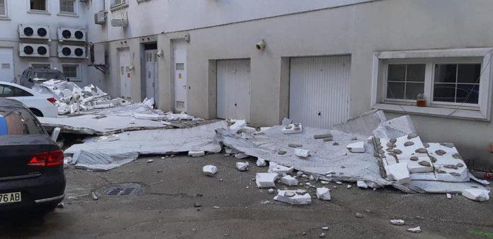 Shkupi 2014 nuk e përballoi forcën e erës, bie fasada barok e kompanisë MEPSO