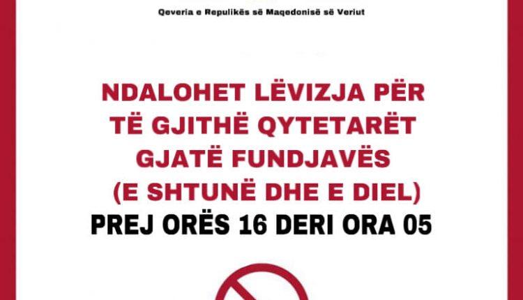 Spasovski: Ndalesa e re për lëvizje për fundjavë është për mbrojtje më të madhe, vlejnë edhe ndalesat e tjera paraprake