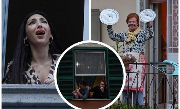 Pamje emocionuese, italianët luftojnë koronavirusin me këngë e valle nga dritaret (FOTO LAJM)