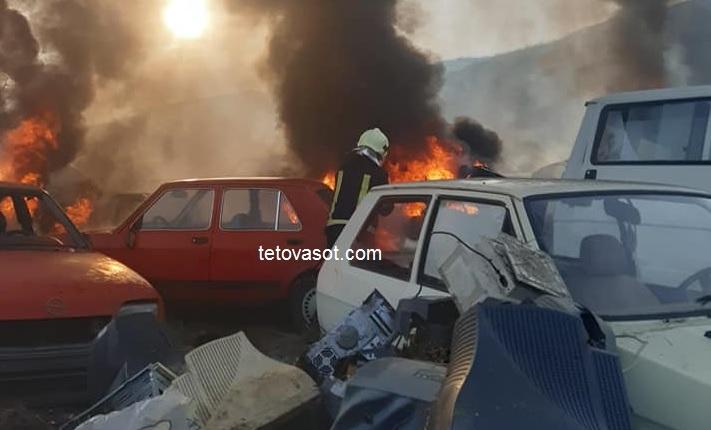 Zjarri djeg shumë automjete në një fshat të Tetovës, flet Uka Aliti (VIDEO)