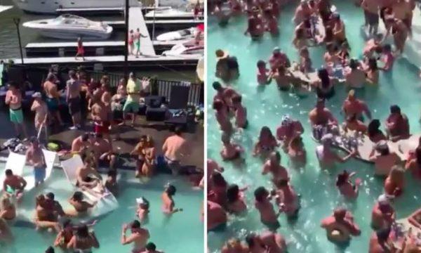 Pavarësisht koronavirusit amerikanët festojnë në pishina pa asnjë masë mbrojtëse (VIDEO)