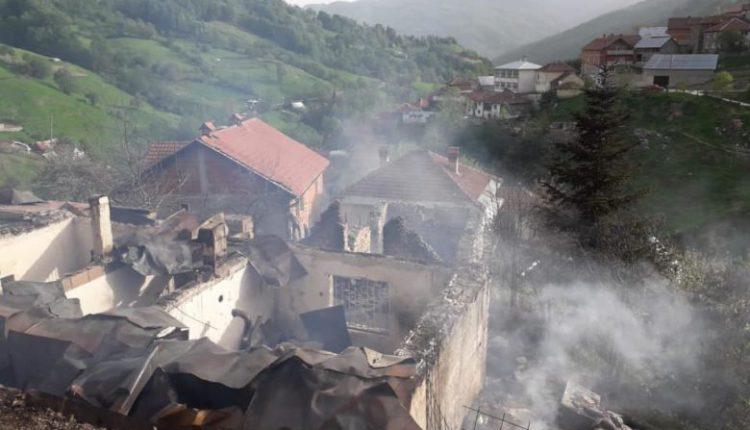 Janë djegur pesë objekte gjatë një zjarri të madh në Vejce të Tetovës, janë lënduar katër persona