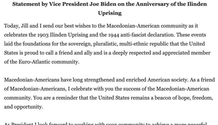 Bajdën ua uroi Ilindenin maqedonasve amerikanë në SHBA