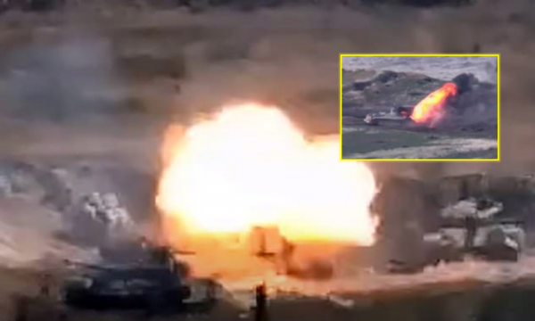 Pamje të tmerrshme nga bombardimi i tankeve dhe kundërajrorëve mes Armenisë e Azerbajxhanit (VIDEO)