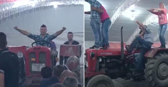 Me 'traktor' hyn në restorant, dasma që po bën xhiron e rrjetit (VIDEO)