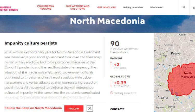 Reporterë pa kufij: Kultura e mosndëshkimit vazhdon në Maqedoninë e Veriut