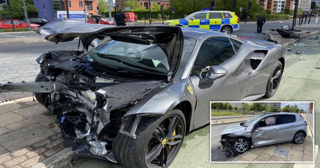 250,000£ Ferrari u shkatërrua pas përplasjes me veturë franceze me 30 kilometra në orë