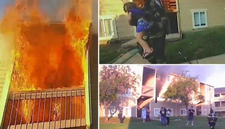 Zjarri befasoi një familje në Kansas, kamera e zjarrfikësit filmoi momentin dramatik të shpëtimit të vajzës së vogël (VIDEO)