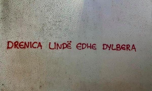 """""""Drenica lind edhe dylbera"""", banorët fshijnë grafitet në Drenas"""