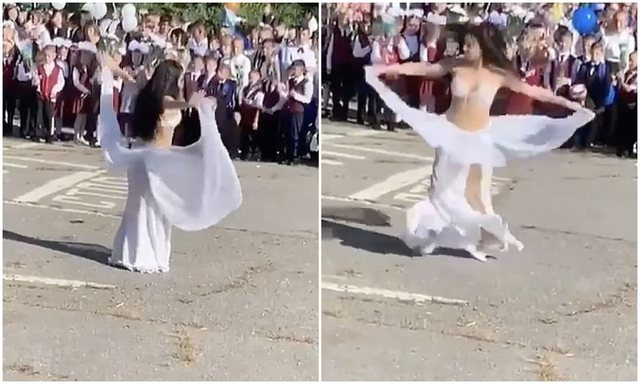Habit mësuesja/Mirëpritje e ngrohtë nxënësve me vallëzim oriental dhe gjysmë e zhveshur (FOTO)
