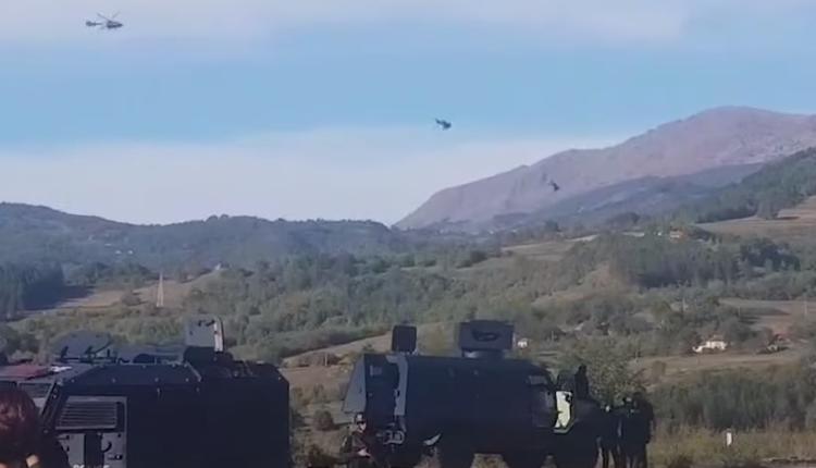 Tre helikopterë të ushtrisë serbe fluturojnë afër Jarinjës (VIDEO)